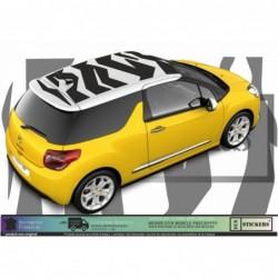 Citröen DS3 - Toit effet zèbre stickers - autocollants adhésifs Fun stickers kit