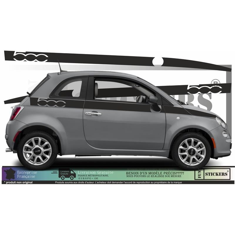 Fiat 500  - kit Bandes latérales Logos 500  - Tuning Sticker Autocollant Graphic Decals